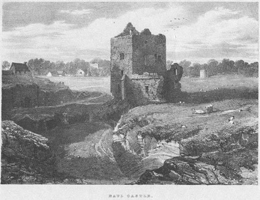 Naul Castle, by Robert O'Callaghan Newenham. Lithographed by J.D. Harding